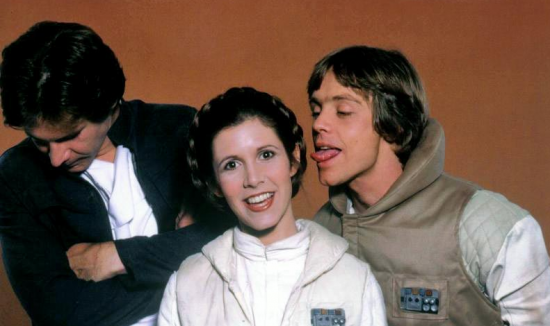 Harrison Ford, Carrie Fisher, and Mark Hamill