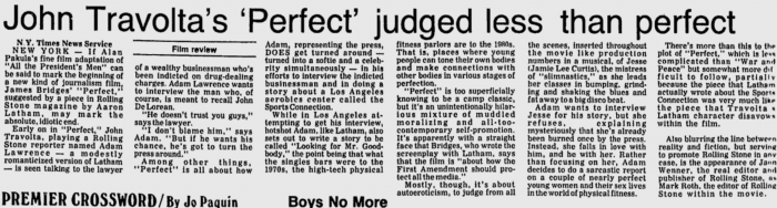 Headline- John Travolta's Perfect Judged less than Perfect