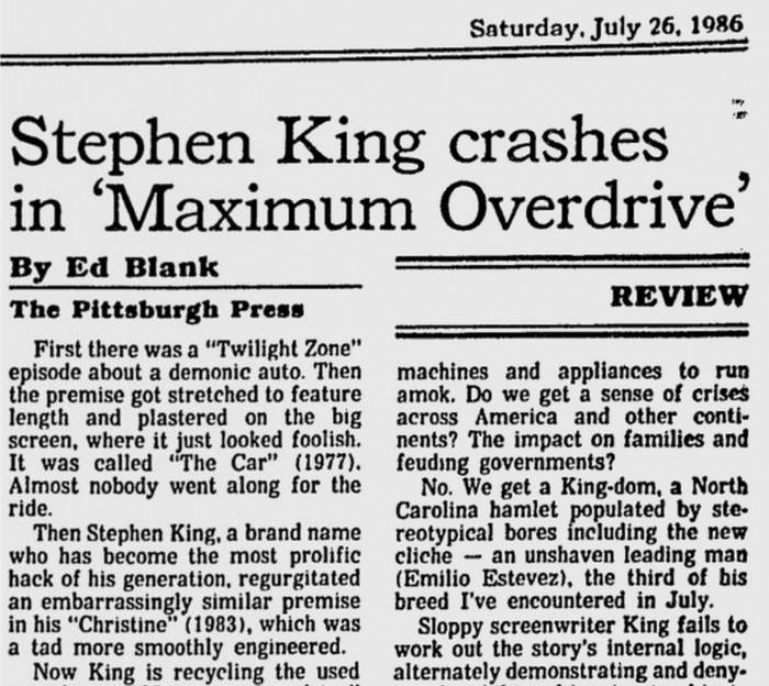 Headline- Stephen King Crashes in Maximum Overdrive