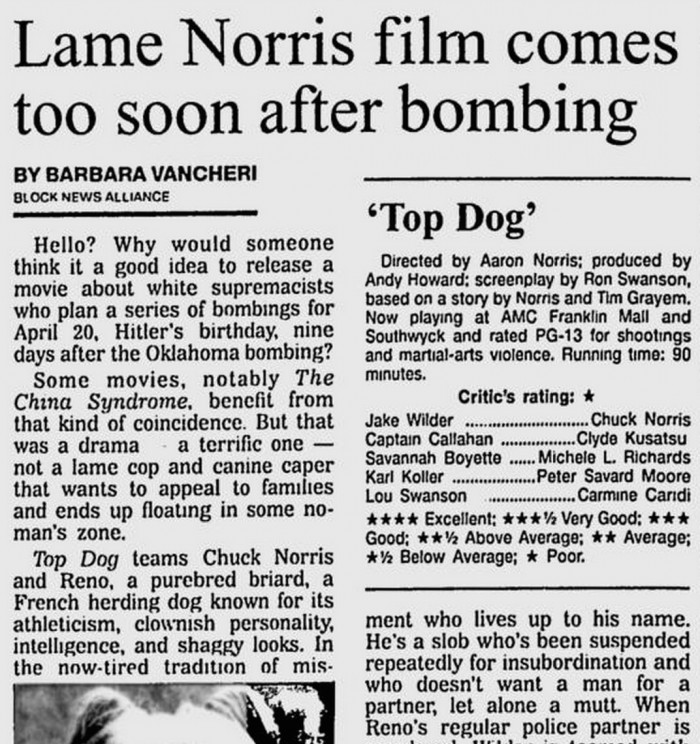 Lame Norris Film Comes Too Soon After Bombing