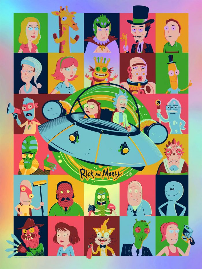 """Dave Perillo """"Rick and Morty"""" Foil Variant Screen print"""
