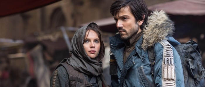 Rogue One A Star Wars Story - Felicity Jones as Jyn Erso and Diego Luna as Cassian Andor