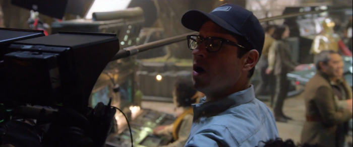 JJ Abrams and Ken Leung in Star Wars: The Force Awakens