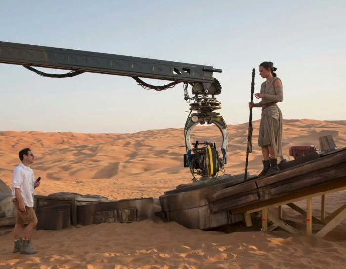 Daisy Ridley shooting a scene on the AT-AT home set