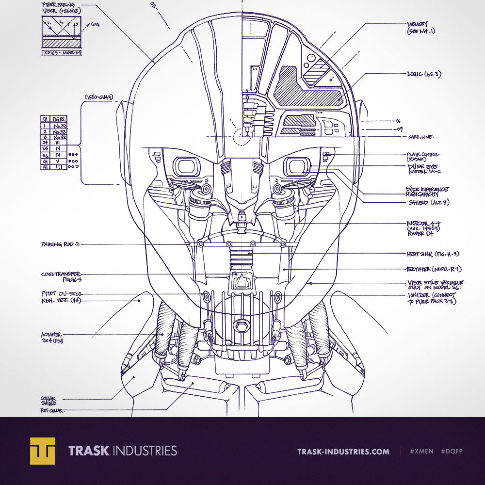 sentinel blueprints revealed from  x men days of future past    film Schematic Diagram Symbols Schematic Wiring Diagram