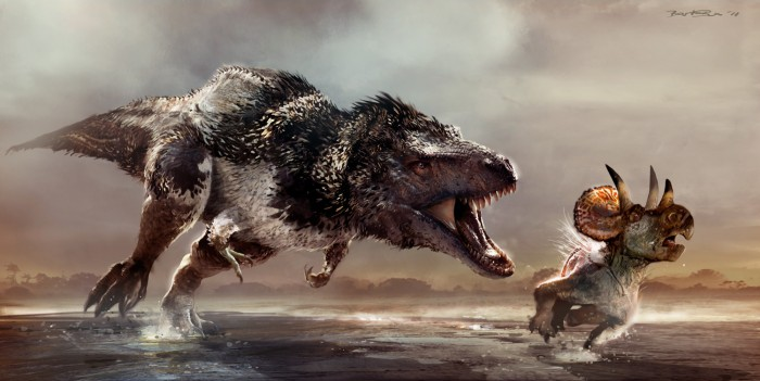 believed scientificly accurate art of a T-rex with feathers (not from Jurassic World)