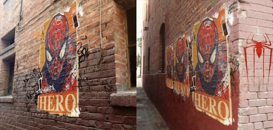 Spider-Man viral street art