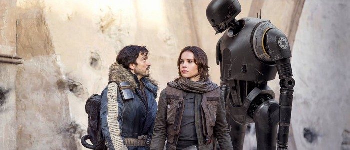 Star Wars Rogue One - Diego Luna as Cassian Andor, Felicity Jones as Jyn Erso, K-2SO