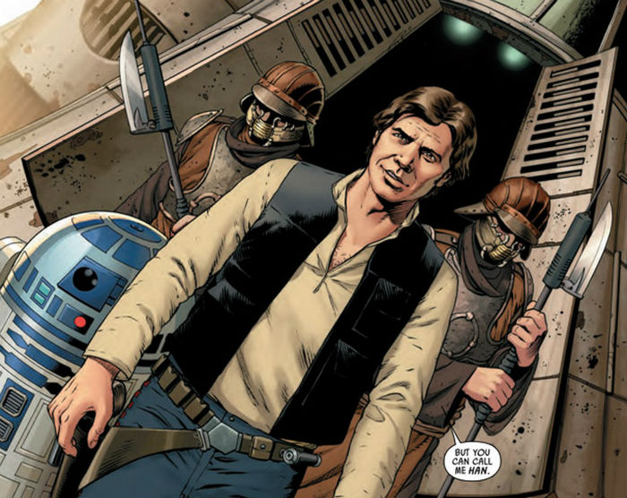 Star wars comic Han Solo panel