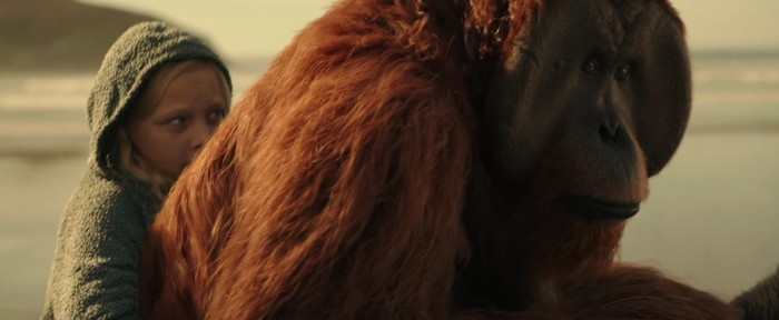 War for the Planet of the Apes beach maurice on horseback with girl