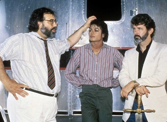Francis Ford Coppola, Michael Jackson and George Lucas on the set of Captain EO