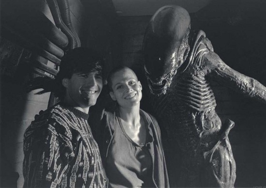 Sigourney Weaver on the set of Alien 3