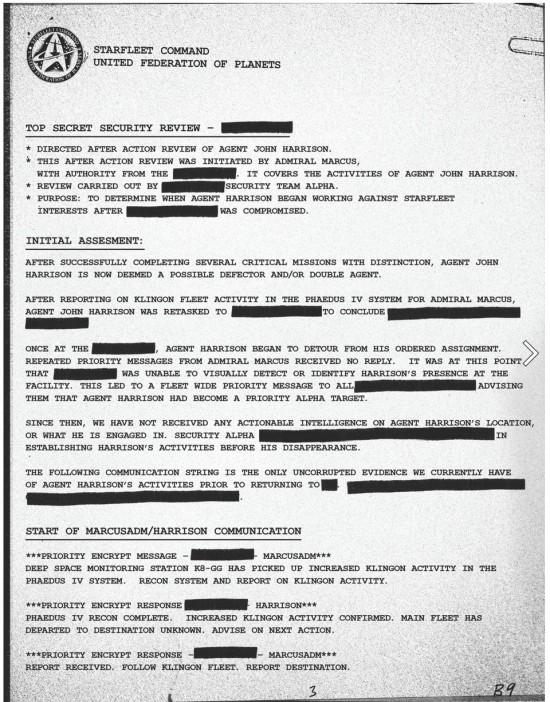 Hidden John Harrison 'Starfleet Memorandum' found On Star Trek Into Darkness Viral Site