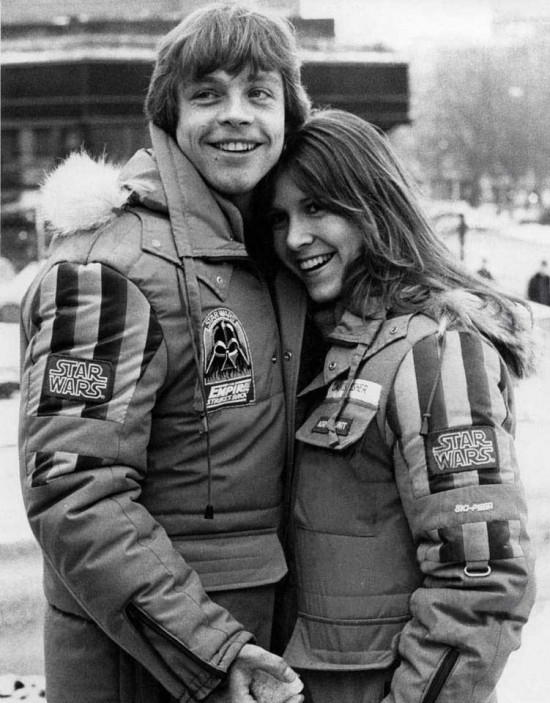 Mark Hamill and Carrie Fisher on the set of The Empire Strikes Back.