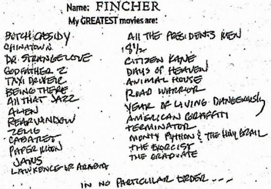 David Fincher's List of 26 Greatest Movies