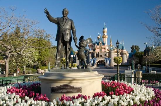 Walt Disney partner statue at Disneyland theme park