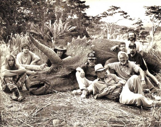 Steven Spielberg, Sam Neill, Stan Winston and crew with a Triceratops on the set of Jurassic Park