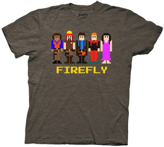 The Crew Of Firefly's Serenity In 8-Bit T-Shirt