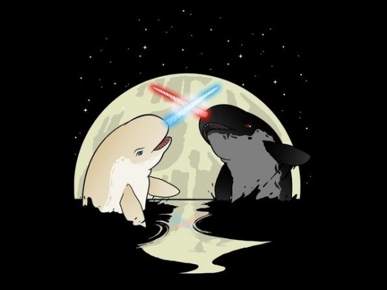 Narwhals Dueling With Lightsaber Horns t-shirt