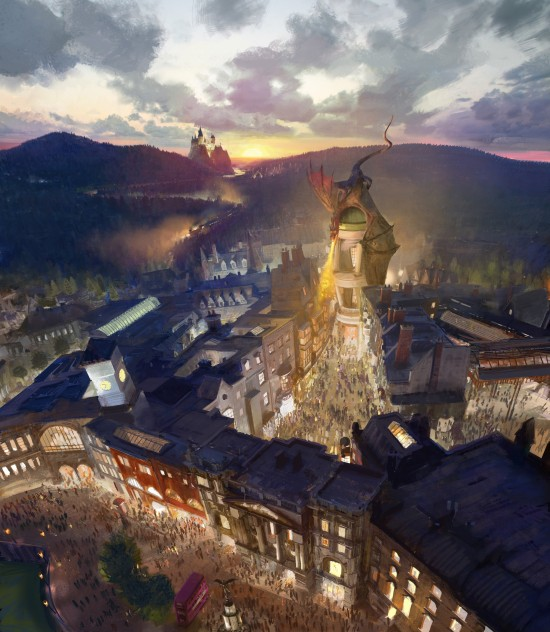 Diagon Alley concept art for The Wizarding World of Harry Potter