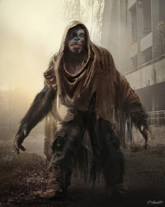 Apes wearing primitive clothing