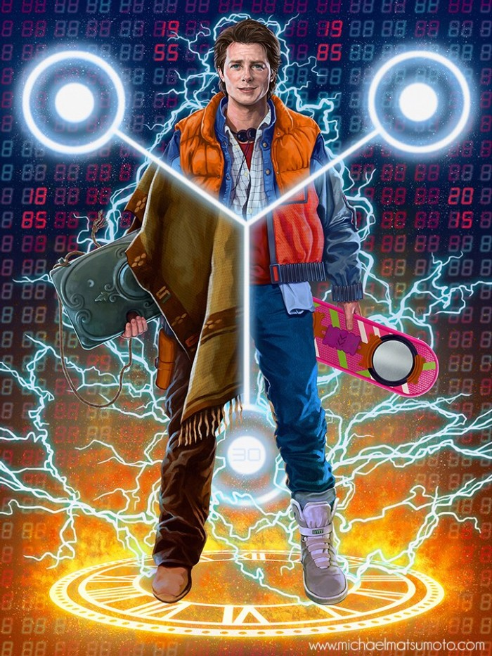 mkmatsumoto's Back to the Future trilogy inspired W8AMINIT art