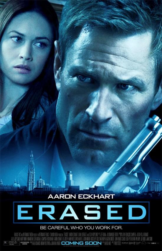 Poster for Erased, Starring Aaron Eckhart