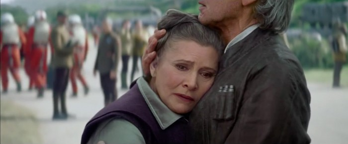 Han Solo and Princess Leia in Star Wars: The Force Awakens