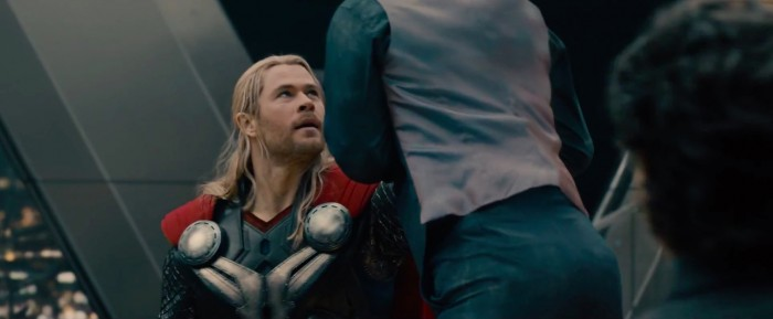 Robert Downey Jr and Chris Hemsworth in Avengers: Age of Ultron
