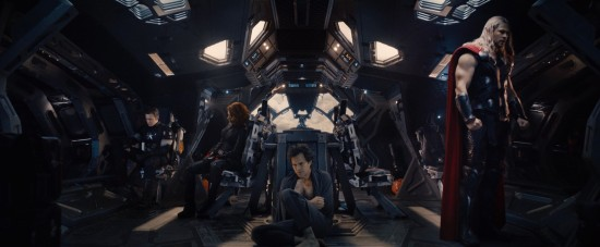 Avengers: Age of Ultron: Captain America, Black Widow, Bruce Banner and Thor looking defeated in the Quinjet