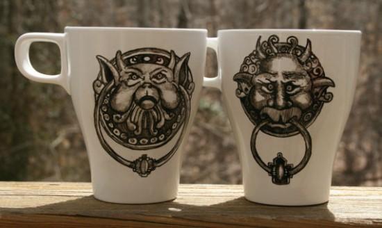 Labyrinth Inspired Door Knocker Hand Painted Coffee Mug Set