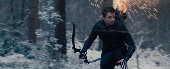 Avengers: Age of Ultron: Hawkeye running through a snow-covered forrest