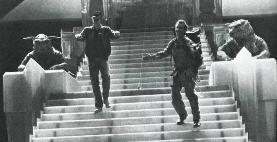 Chevy Chase visiting Bill Murray on the set of Ghostbusters.
