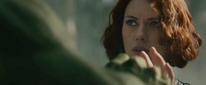 Hulk and Scarlett Johansson in Avengers: Age of Ultron