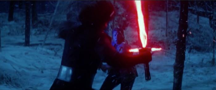 Finn and Kylo Ren lightsaber fight Star Wars: the force awakens