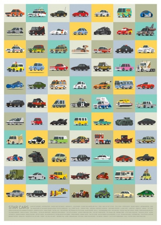 Illustrated Versions Of Iconic Vehicles From Movies And Television