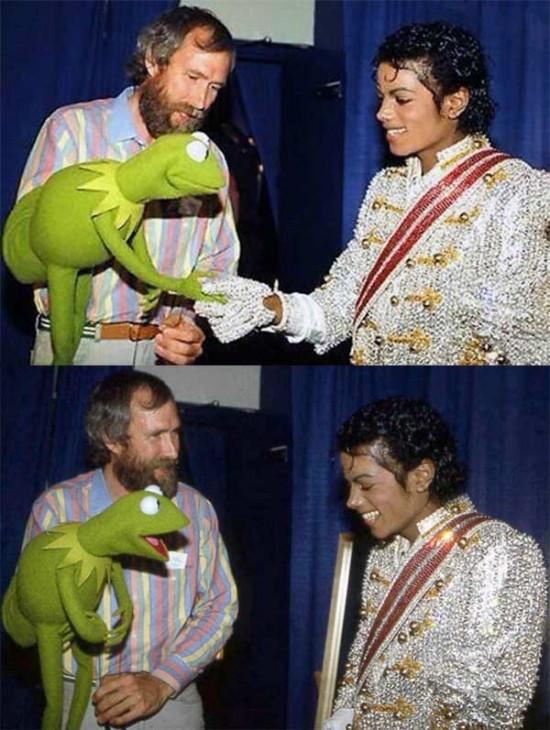 Michael Jackson meeting Kermit the Frog and Jim Henson, 1984