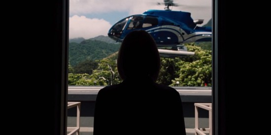 Bryce Dallas Howard's character Claire who is waiting for an arrival on the Isla Nublar hellipad