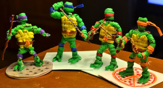 Teenage Mutant Ninja Turtles made from twist ties