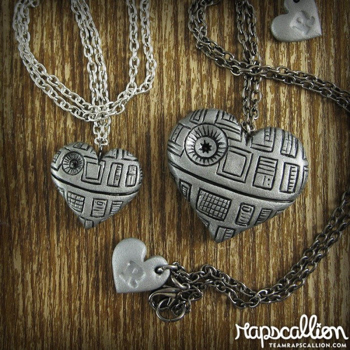 Death Star heart necklace