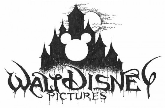 Disney-Logo, black-metal'd