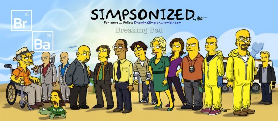 Breaking Bad Characters Drawn in the Style of 'The Simpsons'