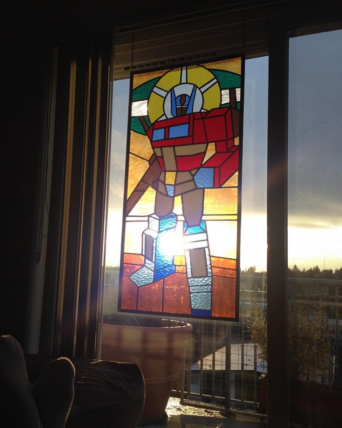 'Saint Optimus Of Prime' 122-Piece Stained Glass Window