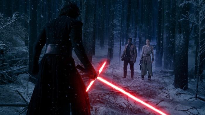 the force awakens rey finn kylo snow