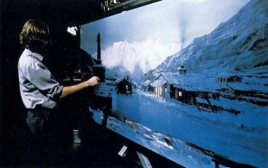 Matte painting of Marion's bar from Raiders of the Lost Ark