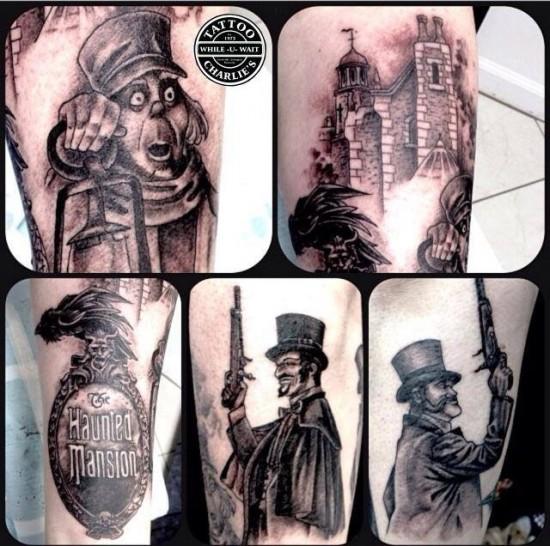 Haunted Mansion leg sleeve tattoo