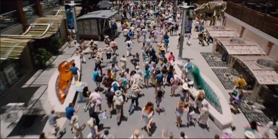 Havoc at Jurassic World's downtown district.