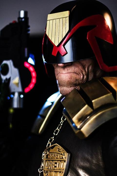 Judge Dredd character makeup inspired by The Intense Art of Simon Bisley by Patt Foad.