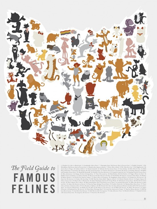 The Field Guide to Famous Felines by Pop Chart Lab