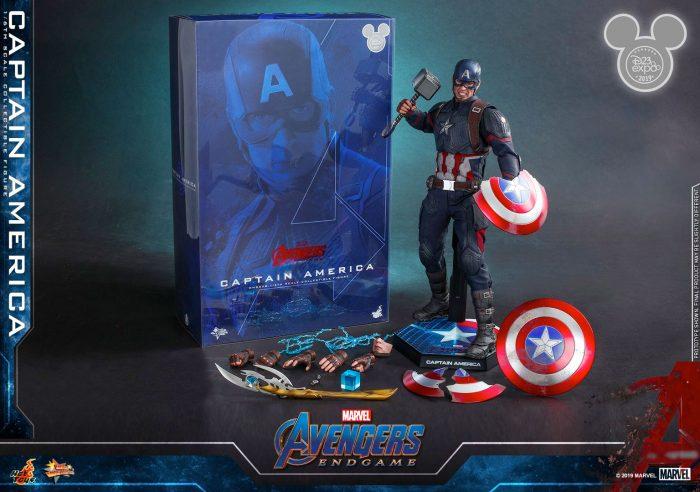 Avengers Endgame - Captain America Hot Toys Figure with Mjolnir